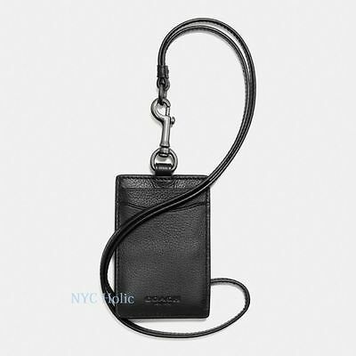 New Coach F58114 Mens ID Lanyard In Sport Calf Leather Black NWT