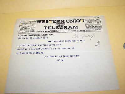 1915 Montana Western Union Telegram U.s. Commissioner Shoudy Criminal Hamilton