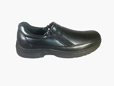Mens Zip Up Black Grosby Arnold Work Formal And School Shoes All Sizes