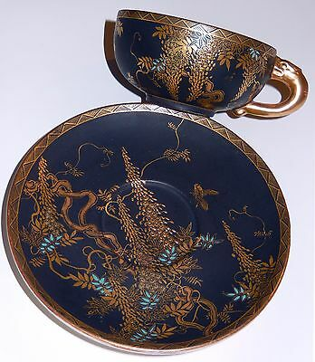 Antique Satsuma Pottery Tea Cup Saucer Raised Gold Gilt Blue Flowers Butterfly