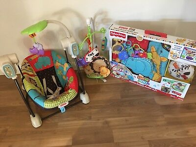 Fisher Price Baby Swing, Playmat and Mobile. Luv U Zoo