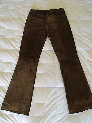 VTG Mens Leather Suede Bell Bottoms Grunge Biker Rocker Size 32x32