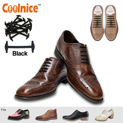 Round Slip-on Elastic Business No Tie Shoelaces Shoe Laces For Oxford Brogues UK