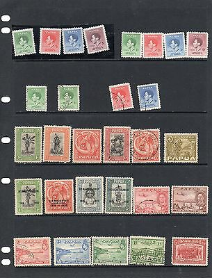Papua New Guinea  29 Early Papua Issues 15 Mint And 14 Used.