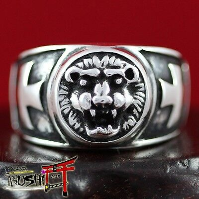Masonic Ring Knights Templar, Lion Head and Cross, 925 Sterling Silver Antique
