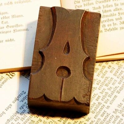 "Letter ""A"" rare decorative wood type character letterpress printing block font"