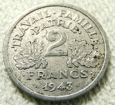 (3) France - Two Francs Coin - 1943 - Reasonable Cond For Age - Deceased Estate