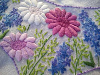 "Fabulous Astor's & Lavender ~ Vintage Raised Hand Embroidered Tablecloth 32.5""Sq"