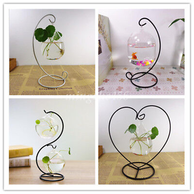 Simple Black Iron Hook Stand Holder Hanging Garden Table Home Office Decoration