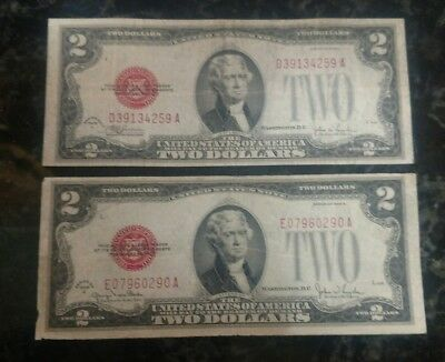 1928 Circulated Two Dollar $2 Red Seal Notes