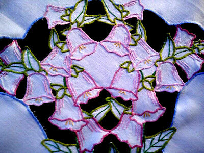 "Charming Pink Foxgloves ~ Vintage Hand Embroidered & Cut-work Tablecloth 33"" Sq"