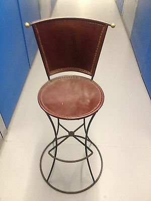 One Off Stoole Chair Unusual Contemporay Peice Metal With Leather Seating