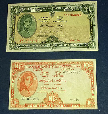 LADY LAVERY £1 and 10 SHILLING IRISH BANKNOTE BOTH EXTRA FINE SEE SCAN