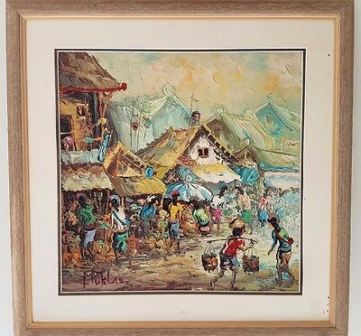 Framed Balinese oil painting by Muklas