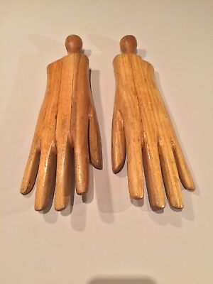 Pair carved wooden glove stretchers c1850-1890 France