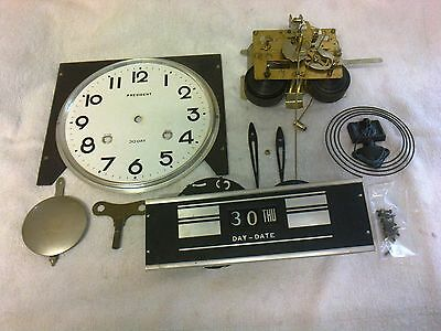 CLOCK  PARTS,   MOVEMENT   FACE, PENDULUM/HANDS  ,KEY, CHIME,date