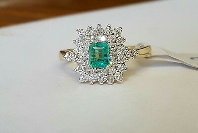 14ct gold emerald and diamond cluster ring