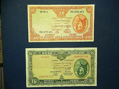 LADY LAVERY £1 and 10 SHILLING IRISH BANKNOTE BOTH FINE SEE SCAN