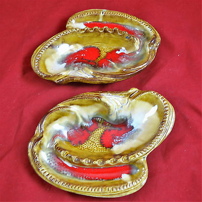 Lot of 2 Vintage Ashtray Calif. USA 678 Ceramic U.S.A. Multicolor