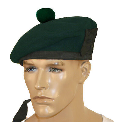 PURE WOOL BALMORAL HAT PIPE BAND HEADWAR kILMARNOCK BONNET PLAIN GREEN BLACK