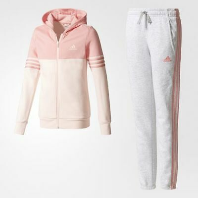 New Adidas Girls YG Hooded Tracksuit  Tactile Rose /Icey Pink Age 5 to 10 Years