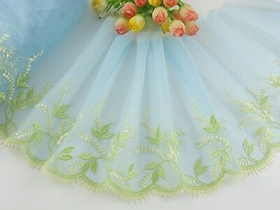 "7.5""*1yard Delicate Embroidered flower on Light Blue tulle Lace Trim DIY 0455"