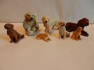Mixed Lot of 7 Collectible Golden Retriever Figurines Italy Germany London