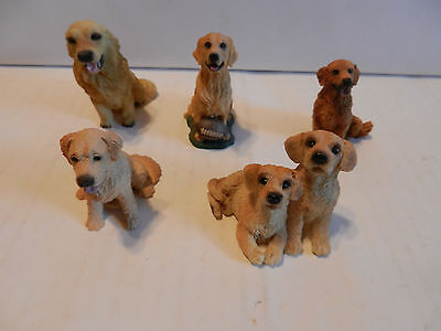 "Lot of 5 Collectible Golden Retriever Mini's 2 1/2"" - 3"" (G)"