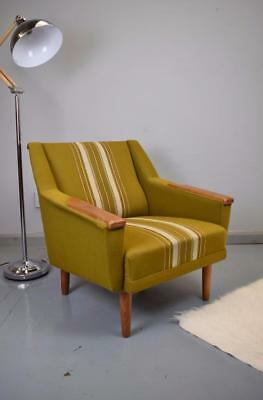 Mid Century Retro Vintage Danish Green Wool & Oak Lounge Arm Chair 1960s 70s