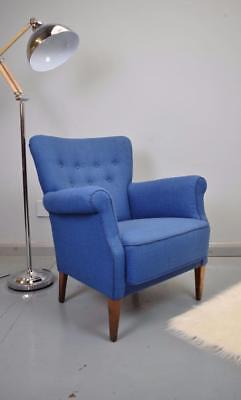 Mid Century Retro Vintage Danish Blue Wool Lounge Arm Chair 1950s