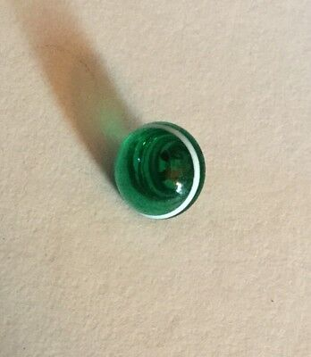 Charmstring Swirlback Green Glass White Band Antique Button Old