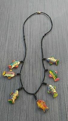 Very detailed hand painted &  beaded colorful fish necklace