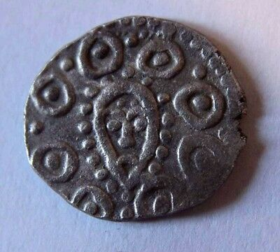 ANGLO-SAXONS Silver Coin with head of the face and  monster 710-760 AD