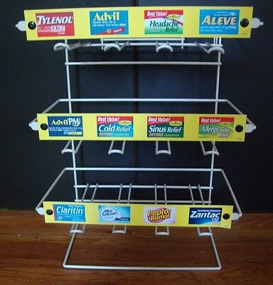 Medicine Dispenser 12 Slot Retail Drug Metal Display Advertising Rack Name Meds