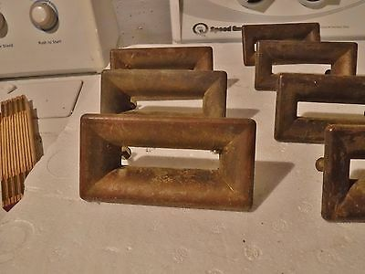 LOT of 10 Vintage MCM Rectangular Brass DRAWER PULLS Open Center Asian