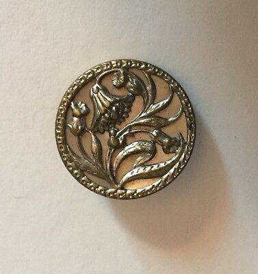 Ornate Flowers Antique Large Metal Picture Button T W W Paris Backmark