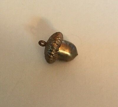 Metal Realistic Shape Acorn Antique Button Old