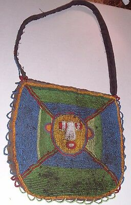 AUTHENTIC ANTIQUE Yoruba Priest Diviners Apo Ifa Beaded Bag  Nigeria Africa