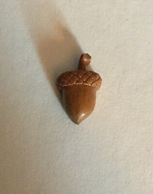 Carved Wood Acorn Small Vintage Button Realistic Shape Old