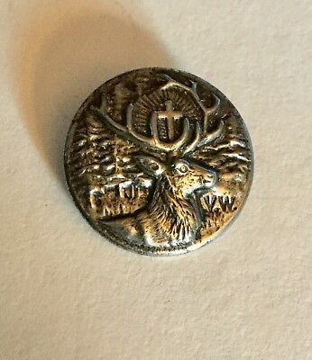 St Hubert's Stag Crucifix Forest Trees Antique Picture Button GESCH Backmark