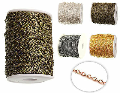 Fine Metal Chain Oval Link Jewellery Making Chain Finding 4 Colors 3 X 2 mm