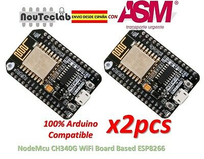2pcs NodeMcu Lua CH340G ESP8266 ESP-12E Wireless Module WIFI Development Board