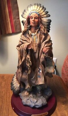 Native American Indian Warrior Chief Statue Figurine Spirit Of The Land Herco