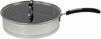 Royal Cuisine  Stainless Steel Saute Frying Pan Non Stick & Glass Lid Cover