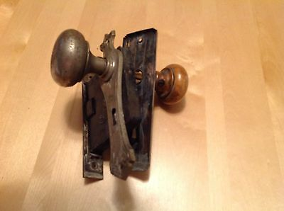 Antique Vintage CORBIN Mortise Entry Door Lockset Backplates and Knobs