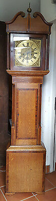 Antique 18th Century Brass Faced 8 Day Grandfather Clock Blackburn of Oakham