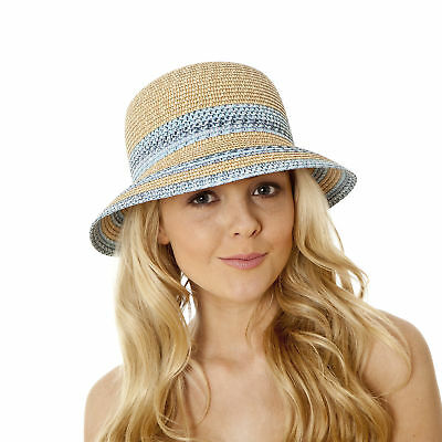 i-Smalls Women's Summer Paper Contrast Braid Cloche Hat