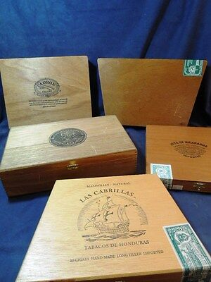 Lot Of 5 Fancy Wooden Cigar Boxes From Estate