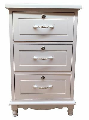 White Wooden Secure 3Drawer Bedside Cabinet Nightstand Table Storage Unit