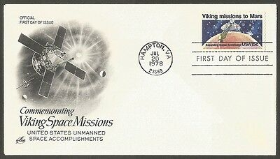 Us Fdc 1978 Viking Missions To Mars 15C #1759 Art Craft First Day Of Issue Cover